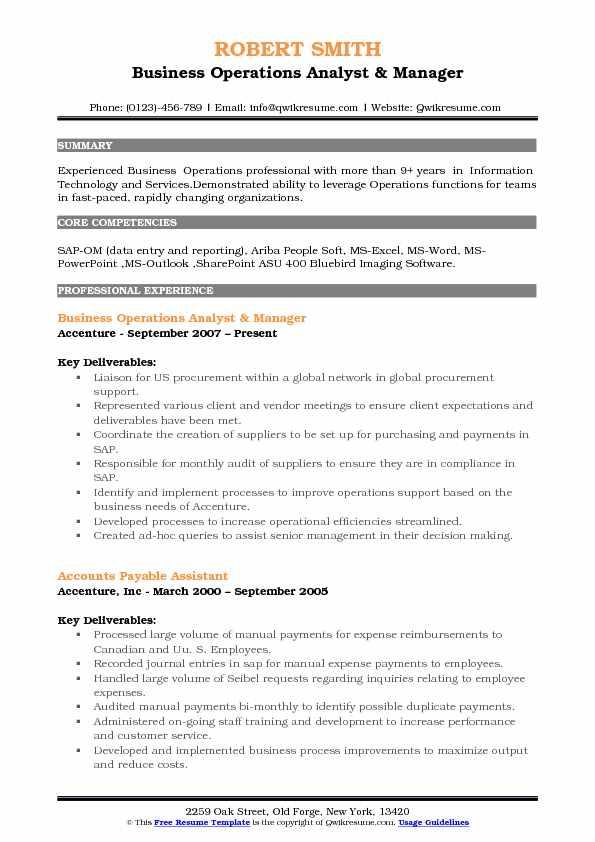Business Operations Analyst Resume Samples QwikResumebusiness