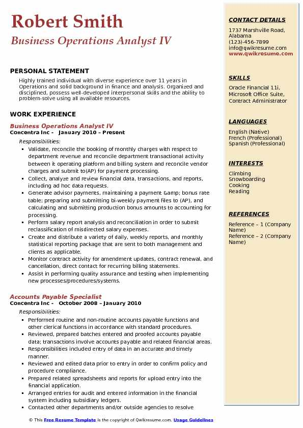 revenue operations resume samples
