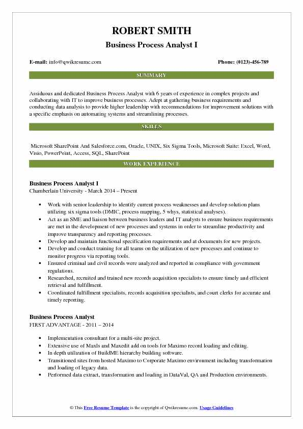 Business Process Analyst Resume Samples QwikResume