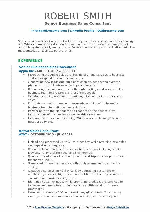 sample senior sales consultant resume
