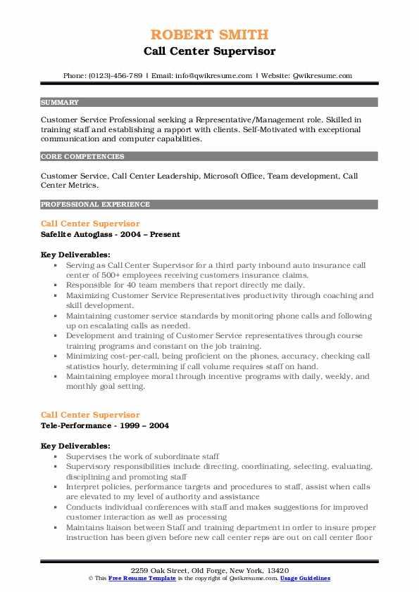 Call Center Supervisor Resume Samples