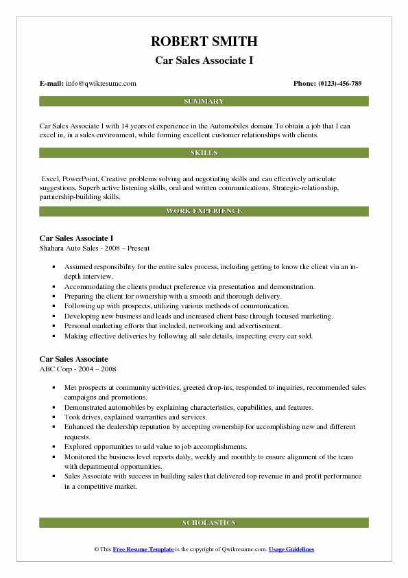 Car Sales Associate Resume Samples