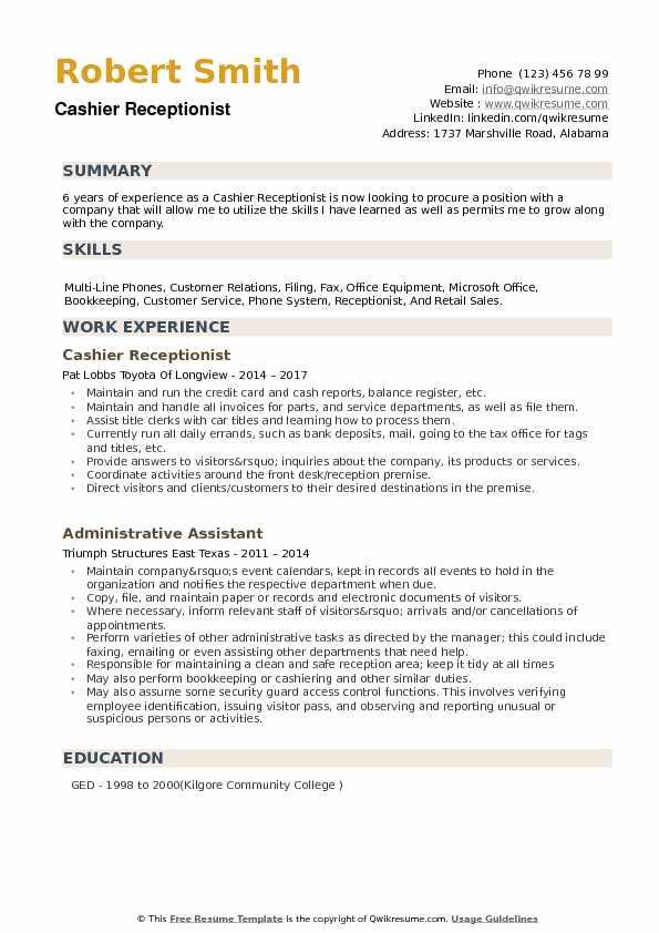 resume description for receptionist