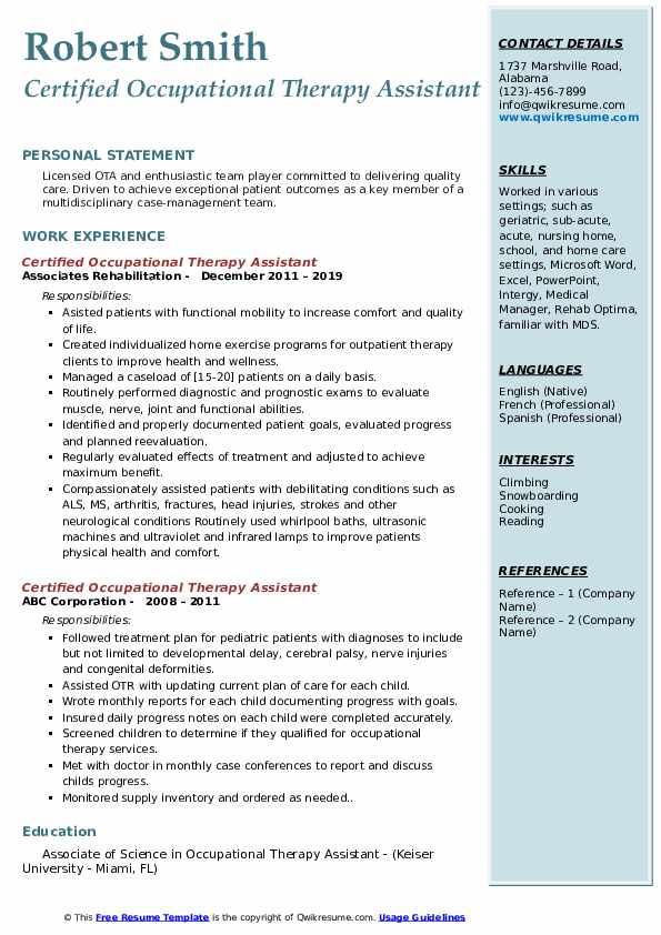 example cota resume
