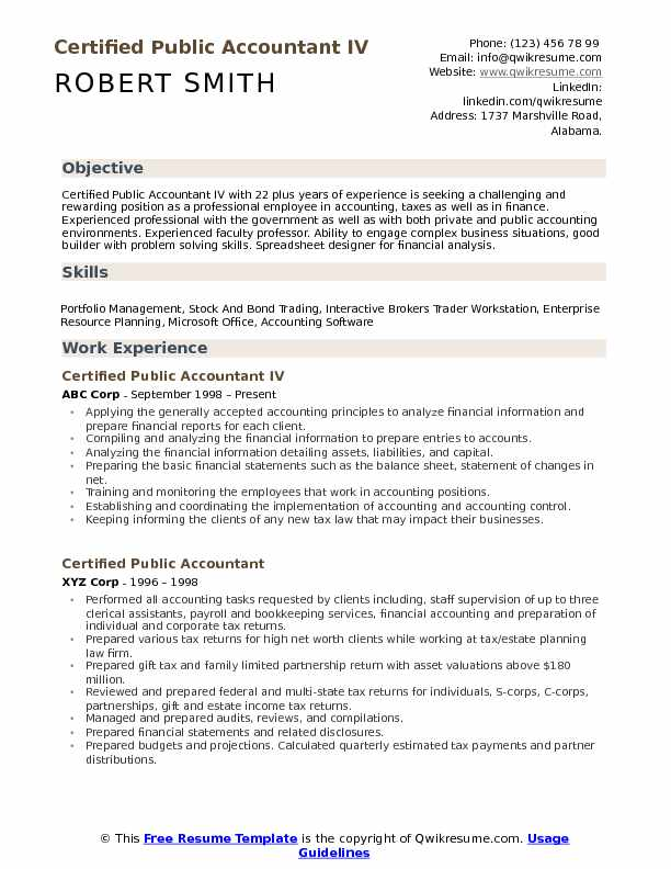 professional certified public accountant resume sample