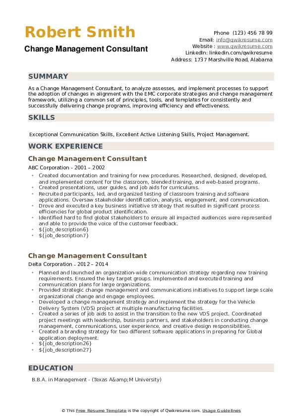 """The best resume format for a career change is the chronological resume (also known as """"reverse chronological resume""""). Change Management Consultant Resume Samples Qwikresume"""