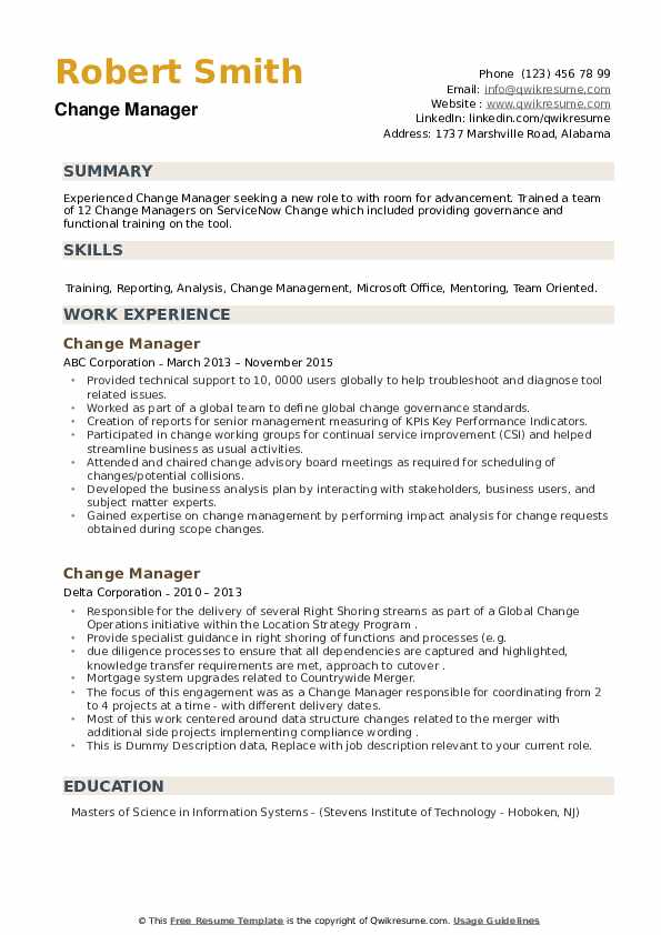 Business management resume samples and examples of curated bullet points for. Change Manager Resume Samples Qwikresume