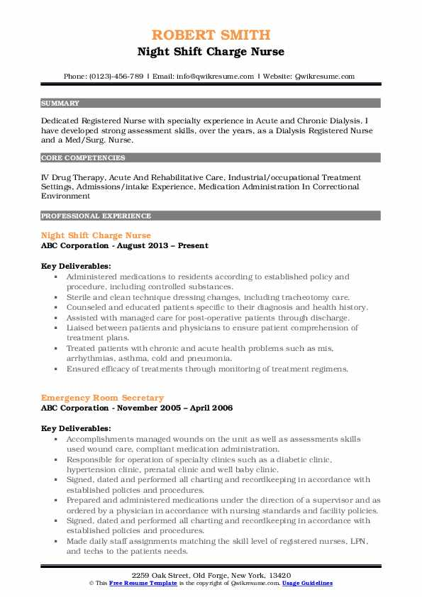 examples of charge nurse resume