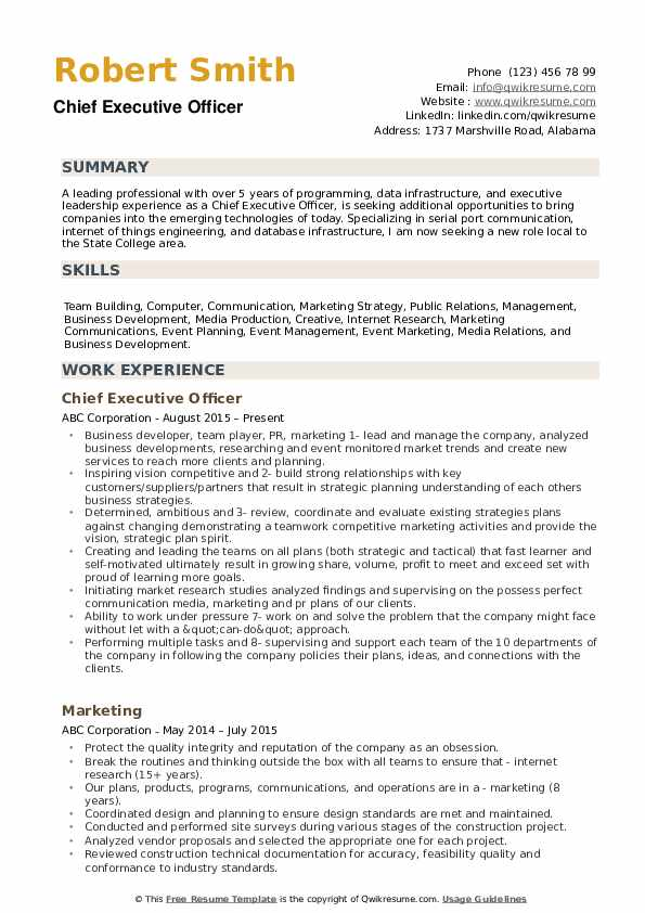 sample resume for executive officer