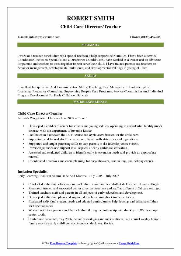 early childhood administrator sample resume