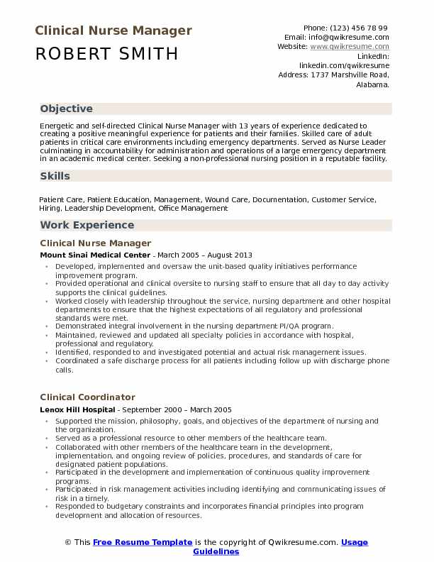 Clinical Nurse Manager Resume Samples QwikResume