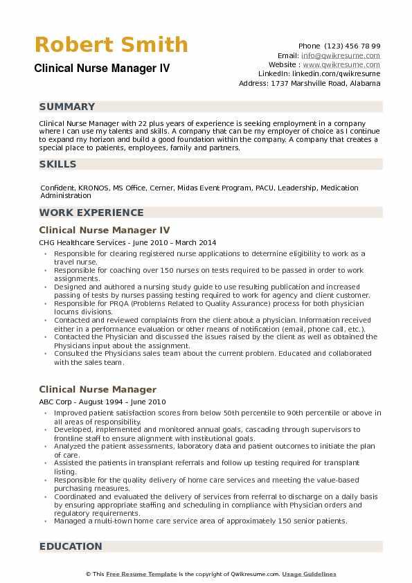 Clinical Nurse Manager Resume Samples QwikResume