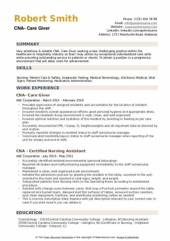 Cna Resume Objective Examples : resume, objective, examples, Resume, Samples, QwikResume