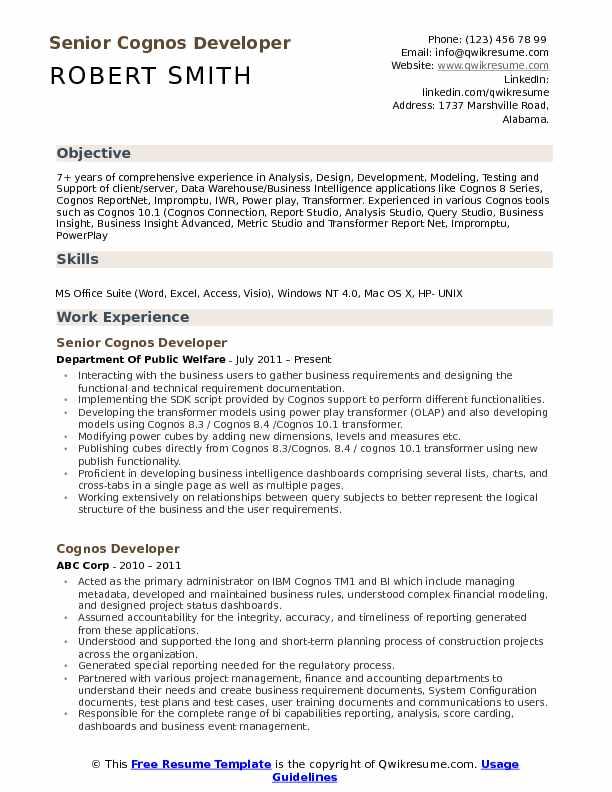 cognos developer resume samples