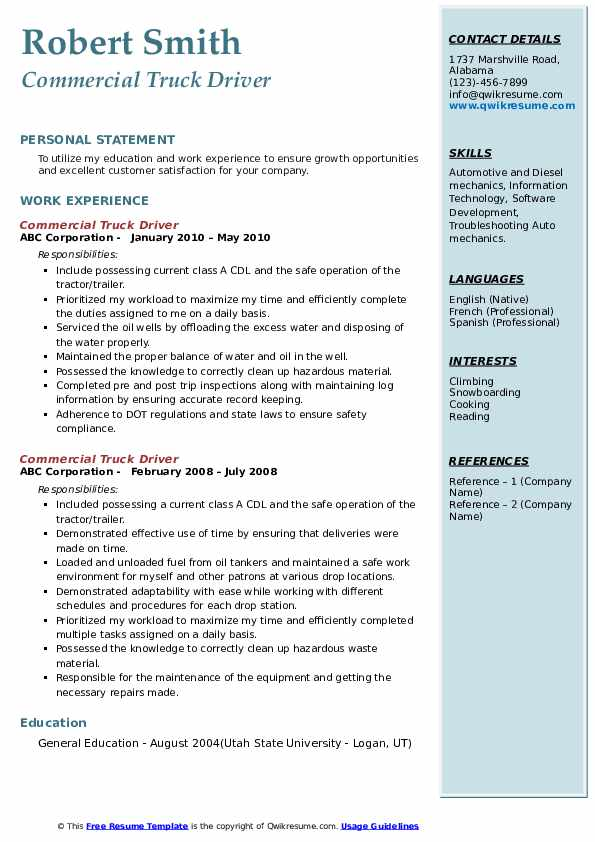Commercial Truck Driver Resume Samples
