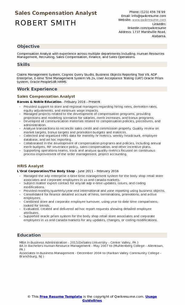 Compensation Analyst Resume Samples QwikResume