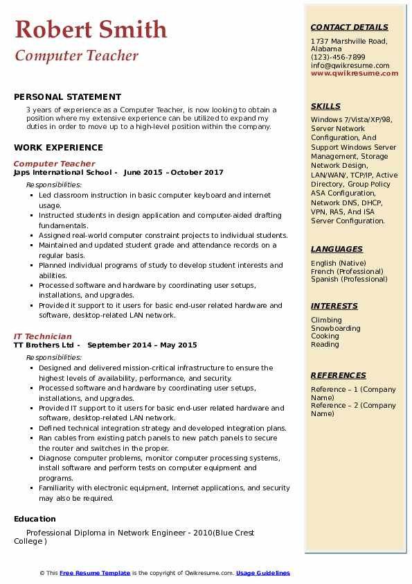 Computer Teacher Resume Samples QwikResume