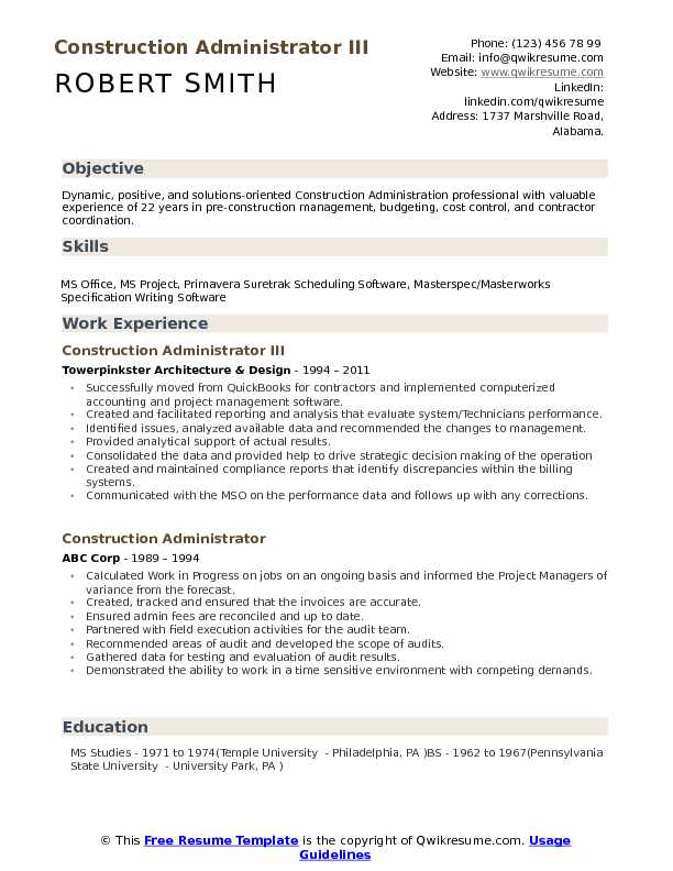 Construction Resume Samples, Examples and Tips