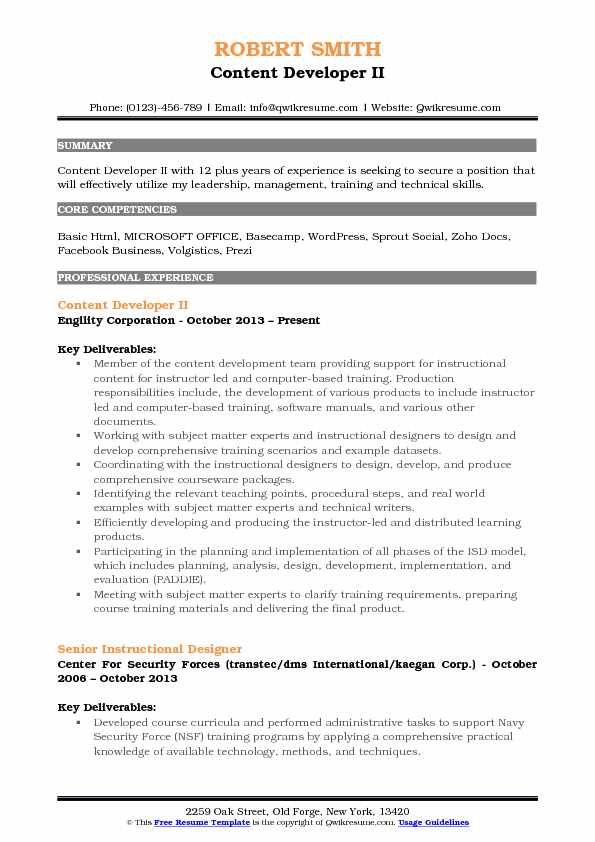 Content Developer Resume Samples QwikResume