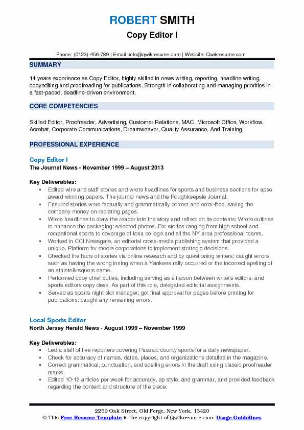 resume examples for copyediting and proofreading