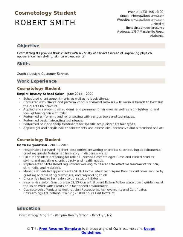 Cosmetology Student Resume : cosmetology, student, resume, Cosmetology, Student, Resume, Samples, QwikResume