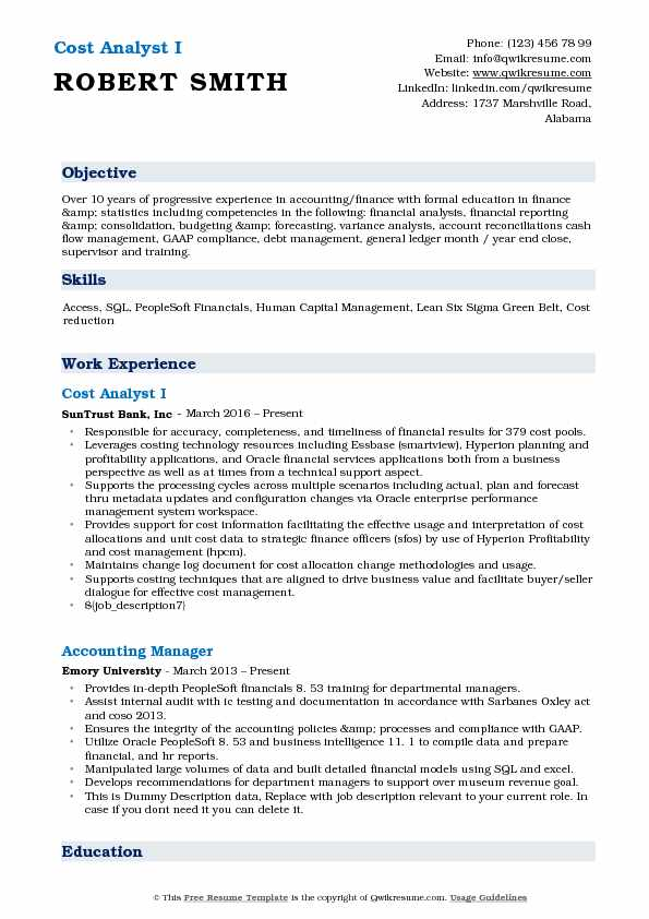 Cost Analyst Resume Samples QwikResume