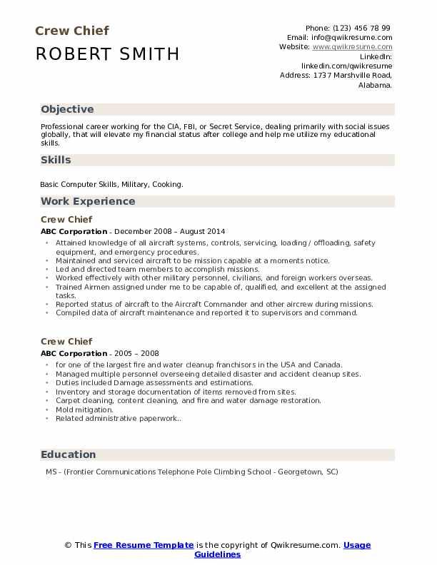 free military tech school crew chief resume templates