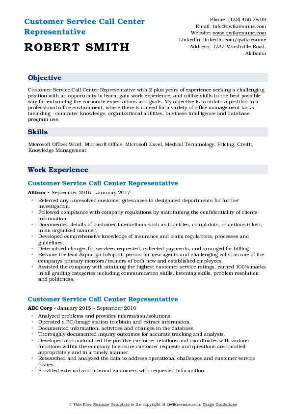 customer service representative resume samples
