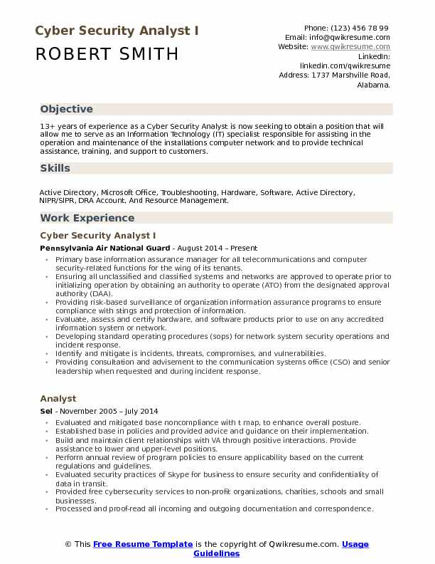 Security Cyber Analyst Resume Samples