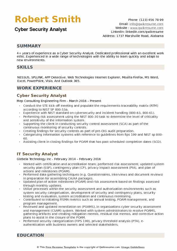 example cyber security resumes