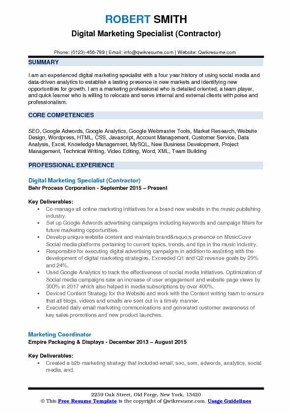 marketing specialist resume example