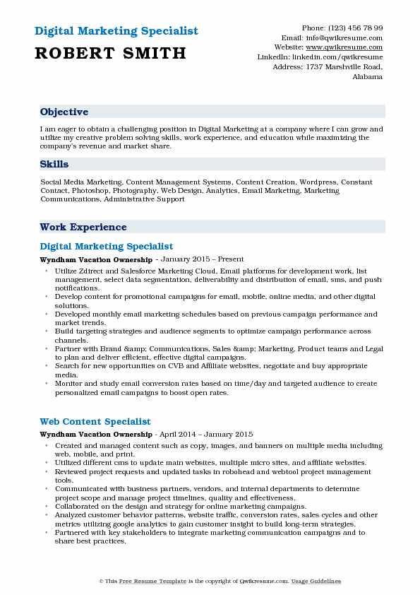 Digital Marketing Specialist Resume Samples QwikResume