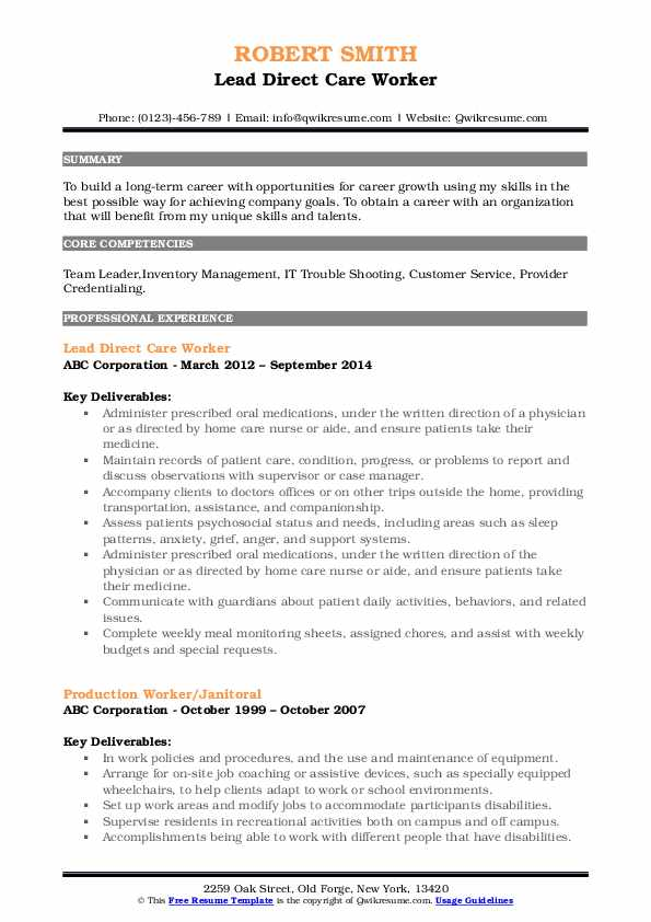 Direct Care Worker Resume Samples  QwikResume