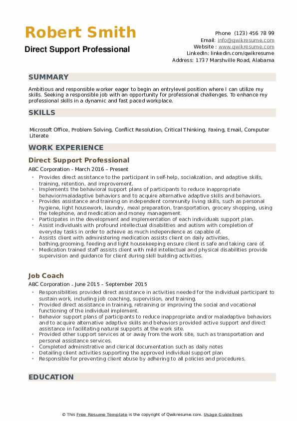 direct support professional job description for resume