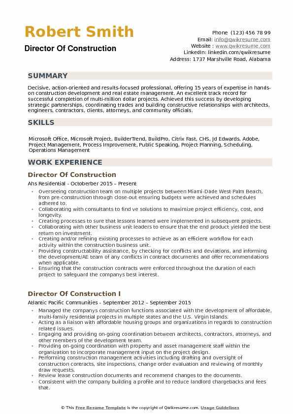 resume headline construction