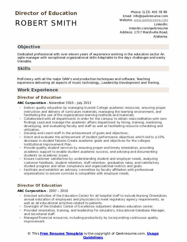 Director Of Education Resume Samples
