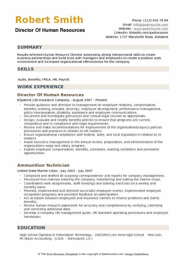 Director Of Human Resources Resume Samples QwikResume