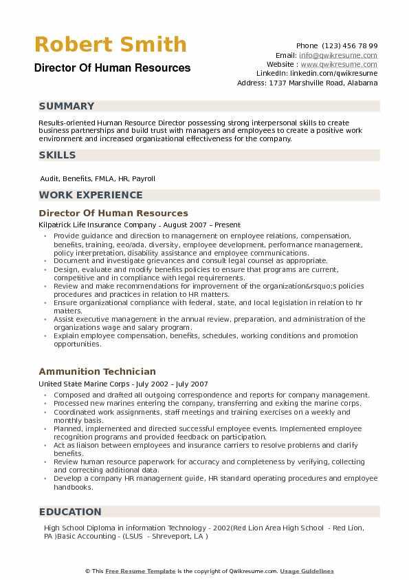 Human Resource Director Resume - Resume Sample