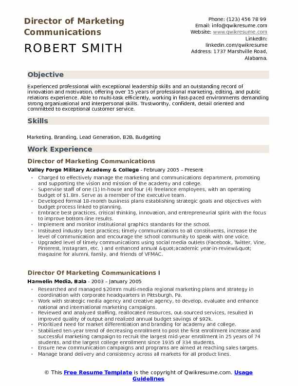 communications director resume example