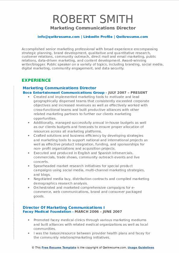 resume for marketing director