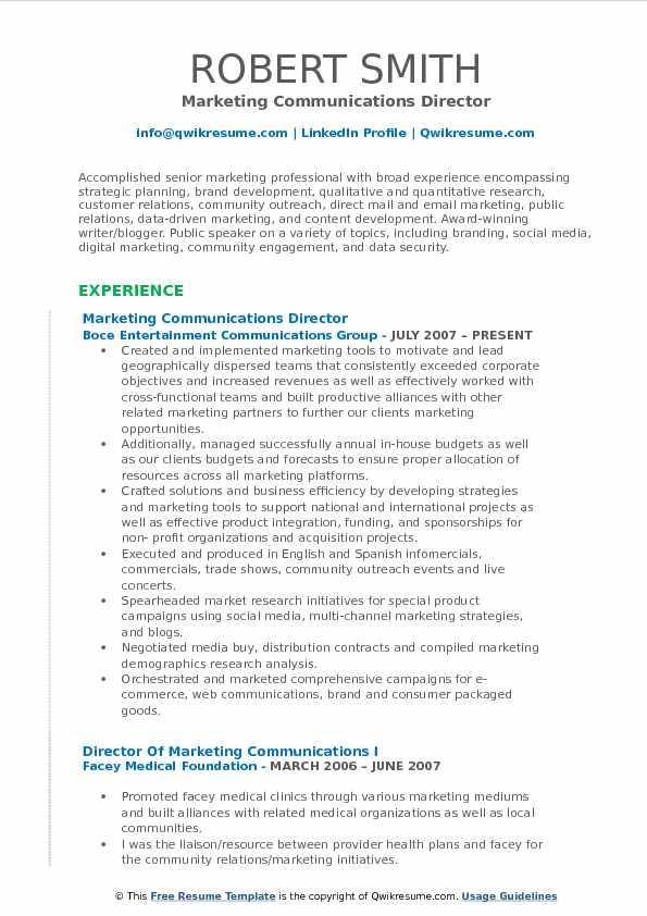 resume executive summary samples