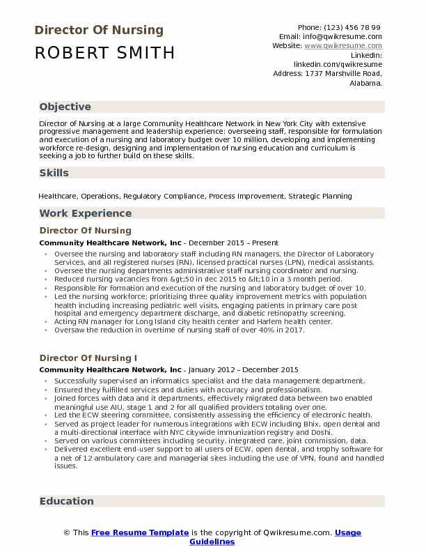 resume objective for nursing director