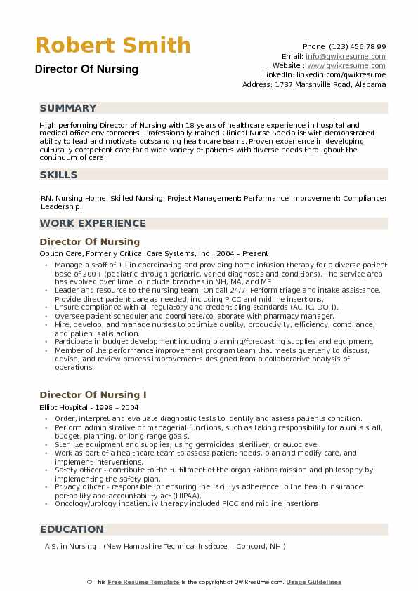 Director Of Nursing Resume Samples QwikResume