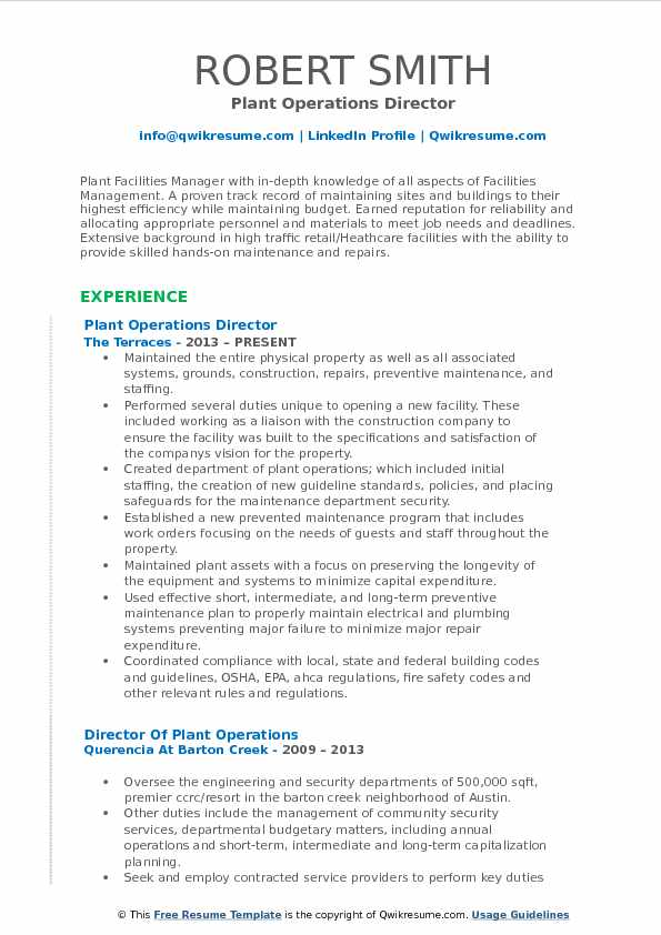 Director of Plant Operations Resume Samples | QwikResume