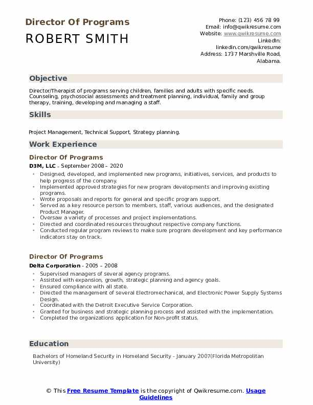 resume format pick the right resume format for your situation. Director Of Programs Resume Samples Qwikresume