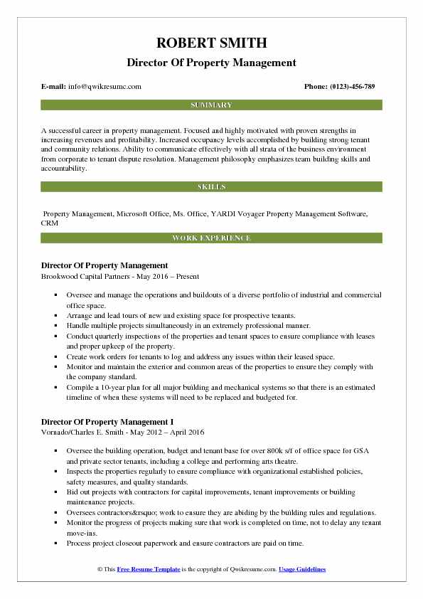 Director Of Property Management Resume Samples