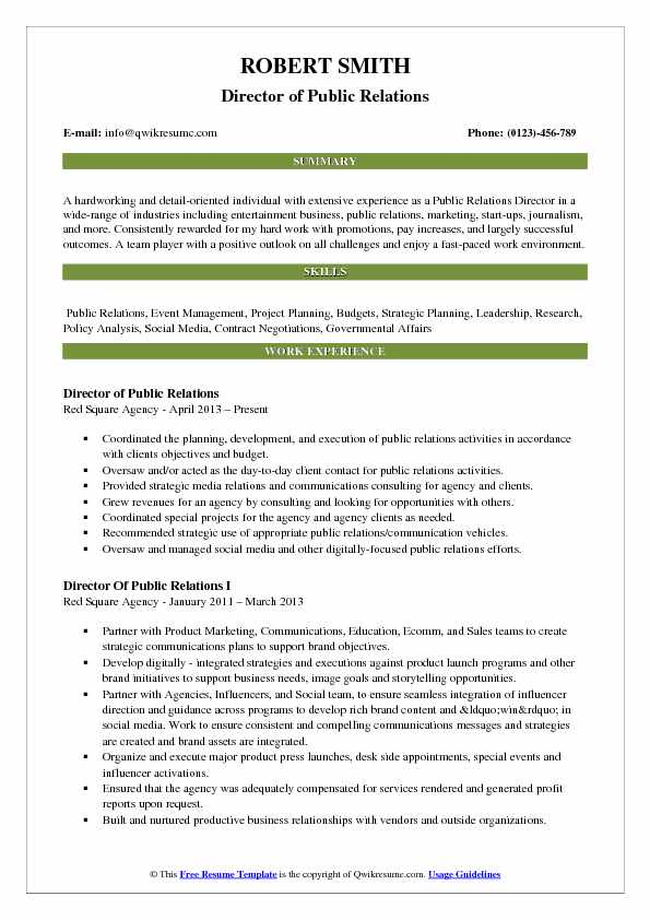 Director of Public Relations Resume Samples | QwikResume