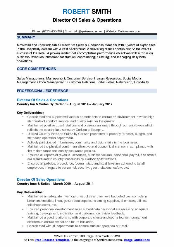 Operations Manager Resume Core Competencies