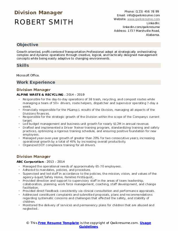 resume objective for division manager