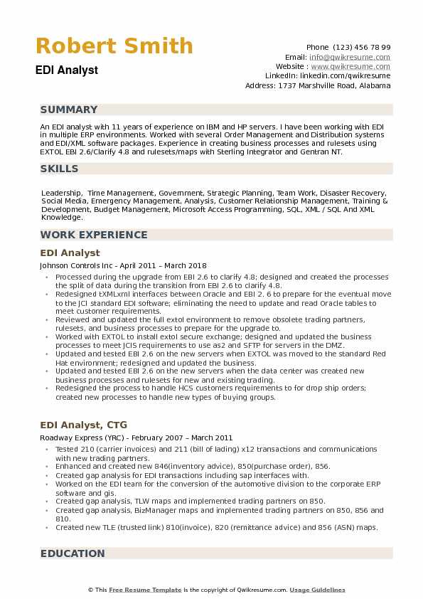 EDI Analyst Resume Samples QwikResume